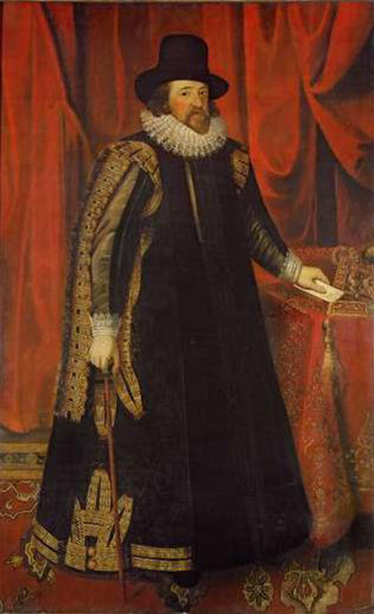 Painting depicts Sir Francis Bacon in a long robe.