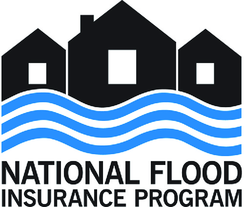 This graphic shows the logo for the National Flood Insurance Program. It has the outline of three houses with wavy lines below them to represent water. Below the lines it says National Flood Insurance Program.
