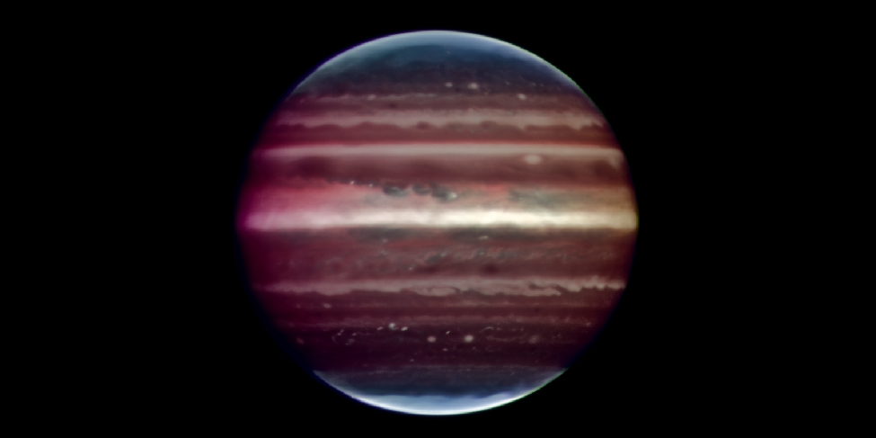 Image of the planet Jupiter taken in infrared light with adaptive optics with the Very Large Telescope in Chile. This high resolution image shows cloud details on Jupiter that rival those taken by the Hubble Space Telescope in Earth orbit.