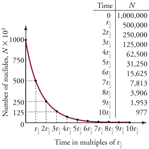 The figure shows a graph and table with the readings. The exponential decay graph shows number of nuclides on the y axis and time (in half-lives) on the x-axis. The graph starts from 1000 at t=0 and decreases to half after every half-life. The range on the x-axis is from 0 to 10 half-lives.