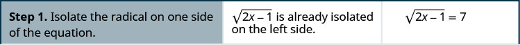 "This table has three columns and four rows. The first row says, ""Step 1. Isolate the radical on one side of equation. The square root of (2x minus 1) is already isolated on the left side."" It then shows the equation: the square root of (2x minus 1) equals 7."