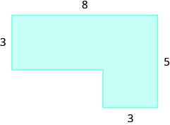 A geometric shape is shown, formed by two rectangles. The top is labeled 8. The width of the top rectangle is labeled 3. The right side of the figure is labeled 5. The width of the bottom rectangle is labeled 3.