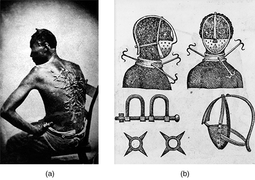 Photograph (a) shows a seated enslaved victim's bare back, which is completely covered by raised scars. Drawing (b) depicts an iron mask, collar, leg shackles, and spurs; front and side views of an enslaved person wearing the collar and mask are shown.