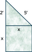 This figure shows a marble sculpture in the form of a square with a right triangle resting on top of it. The sides of the square are x inches long, the legs of the triangle are x and two inches long, and the hypotenuse of the triangle is five inches long.