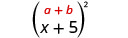 x plus 5, in parentheses, squared. Above the expression is the general formula a plus b, in parentheses, squared.