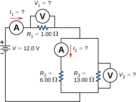 The circuit shows positive terminal of voltage source V of 12 V connected to an ammeter connected to resistor R subscript 1 of 1 Ω with voltmeter across it connected to two parallel branches. The first branch has an ammeter connected to resistor R subscript 2 of 6 Ω and second branch has R subscript 3 of 13 Ω and voltmeter across it.
