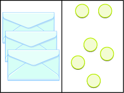 This image has two columns. In the first column are three envelopes. In the second column there are six blue circles.