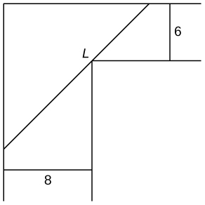 An upside L-shaped figure is drawn with the _ part being 6 wide and the | part being 8 wide. There is a line drawn from the _ part to the | part that touches the near corner of the shape to form a hypotenuse for a right triangle the other sides being the the rest of the _ and | parts. This line is marked L.