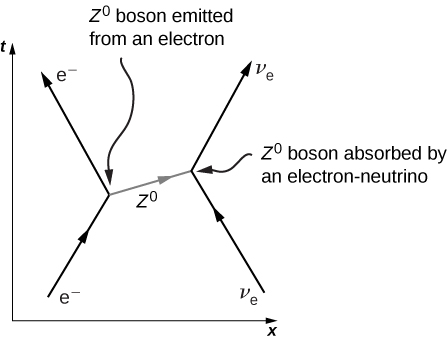 Figure is a graph of t versus x. An arrow labeled e minus goes up and right and meets the base of another arrow labeled e minus going up and left. The junction is labeled z0 boson emitted from an electron. To the right of this is an arrow going up and left. The tip meets the base of another arrow going up and right. Both these are labeled v subscript e and the junction is labeled z0 boson absorbed by an electron neutrino. The two junctions on the graph are connected by a ray labeled z0. This points right and slightly up.