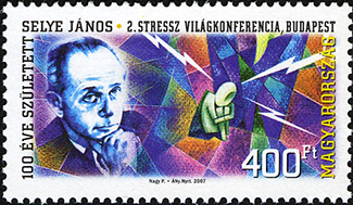 A postal stamp featuring Hans Selye is shown.