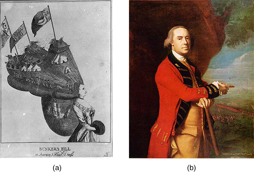 Image (a) is an etching of a woman in fancy dress and sporting an elaborate hairstyle that contains soldiers firing at close range, tent forts, and two ships engaged in a sea battle. Three flags flying over the encampments show a monkey, two women, and a goose. Image (b) is a portrait of General Thomas Gage, showing him in a red military coat, with British troops in the far background.