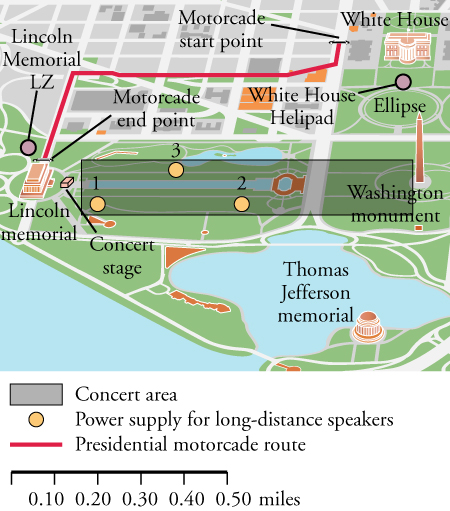 A map drawing of the National Mall area of Washington, DC is shown. A red line is drawn on the map to show the presidential motorcade route from the White House at the top right of the map to a concert stage near the Lincoln Memorial at the bottom left of the map.  Three points, one, two, and three, are plotted in the center of the map. Points one and two are directly across from each other. Point three is in between and slightly above points one and two.