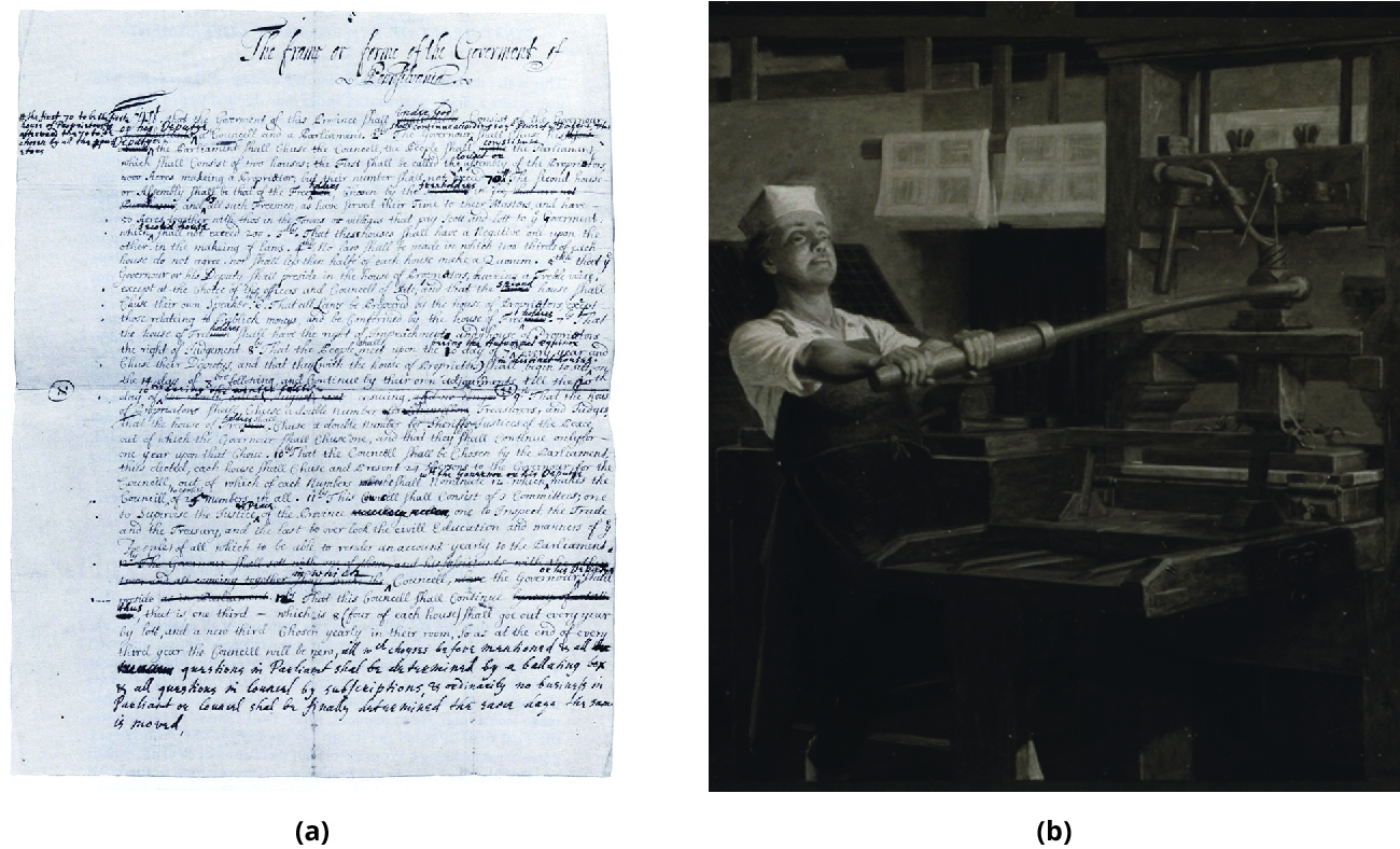 (a) Copy of a draft of the Frame of Government in Pennsylvania by William Penn. (b) Painting of Benjamin Franklin, shown operating a printing press.