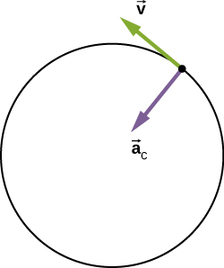 A circle is shown with a purple arrow labeled as vector a sub C pointing radially inward and a green arrow tangent to the circle and labeled v. The arrows are shown with their tails at the same point on the circle.