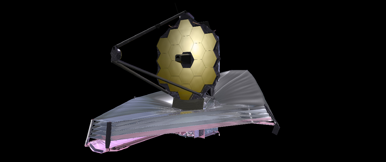 Illustration of the James Webb Space Telescope. The segmented primary mirror is at top, pointing to the left. At bottom is the multi-layered sunshield.