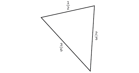 A triangle with sides 1/2, 2/3, and 3/5. Angles unknown.