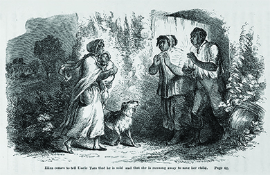 "An illustration from Uncle Tom's Cabin depicts a young slave woman, who is disguised with scarves and holding a small child, speaking with an older slave couple under cover of night. The caption reads ""Eliza comes to tell Uncle Tom that he is sold, and that she is running away to save her child."""