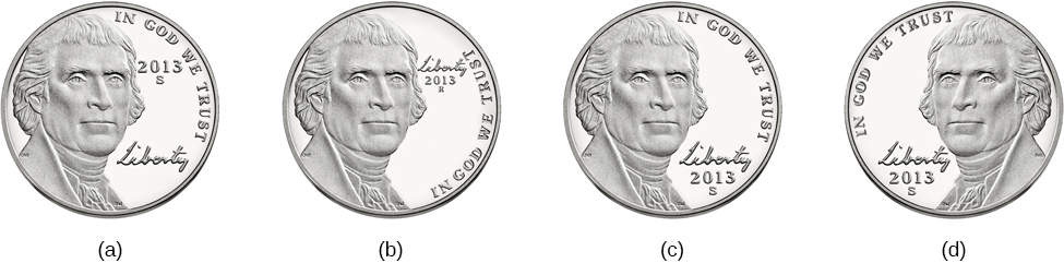 Four illustrations of nickels have minor differences in the placement and orientation of text.