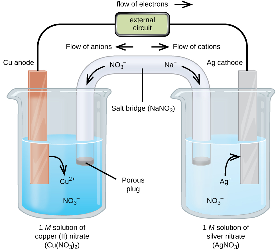 """This figure contains a diagram of an electrochemical cell. Two beakers are shown. Each is just over half full. The beaker on the left contains a blue solution and is labeled below as """"1 M solution of copper (II) nitrate ( C u ( N O subscript 3 ) subscript 2 )."""" The beaker on the right contains a colorless solution and is labeled below as """"1 M solution of silver nitrate ( A g N O subscript 3 )."""" A glass tube in the shape of an inverted U connects the two beakers at the center of the diagram. The tube contents are colorless. The ends of the tubes are beneath the surface of the solutions in the beakers and a small gray plug is present at each end of the tube. The plug in the left beaker is labeled """"Porous plug."""" At the center of the diagram, the tube is labeled """"Salt bridge ( N a N O subscript 3 ). Each beaker shows a metal strip partially submerged in the liquid. The beaker on the left has an orange-brown strip that is labeled """"C u anode negative"""" at the top. The beaker on the right has a silver strip that is labeled """"A g cathode positive"""" at the top. A wire extends from the top of each of these strips to a rectangle indicating """"external circuit"""" that is labeled """"flow of electrons"""" with an arrow pointing to the right following. A curved arrow extends from the C u strip into the surrounding solution. The tip of this arrow is labeled """"C u superscript 2 plus."""" A curved arrow extends from the salt bridge into the beaker on the left into the blue solution. The tip of this arrow is labeled """"N O subscript 3 superscript negative."""" A curved arrow extends from the solution in the beaker on the right to the A g strip. The base of this arrow is labeled """"A g superscript plus."""" A curved arrow extends from the colorless solution to salt bridge in the beaker on the right. The base of this arrow is labeled """"N O subscript 3 superscript negative."""" Just right of the salt bridge in the colorless solution is the label """"N a superscript plus."""" Just above this region of the tube appears the l"""