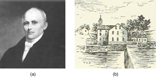 Image (a) is a portrait of Samuel Slater. Drawing (b) is a sketch of his water-powered textile mill on a river with a dam in Pawtucket, Rhode Island.