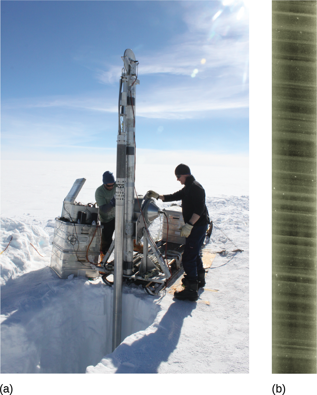 In the first image, a group of scientists uses a drill to extract an ice core in a polar environment. In the second, an ice core is displayed, showing air bubbles trapped within.