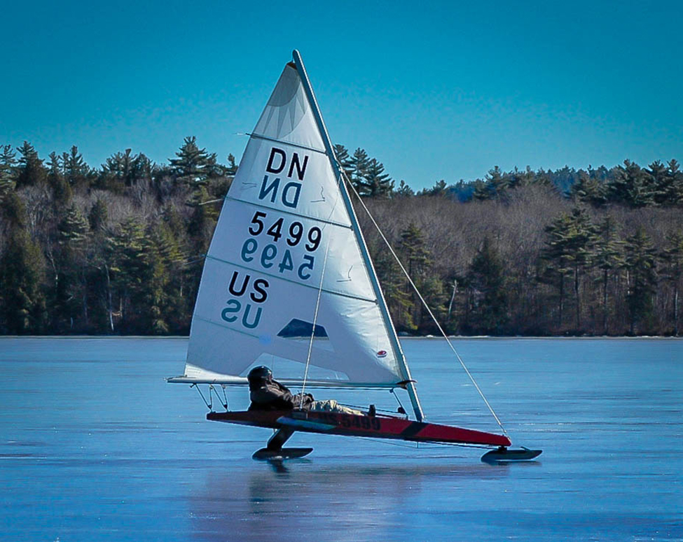 Photo of an iceboat in action.