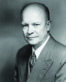 A photograph of Dwight D. Eisenhower is shown.