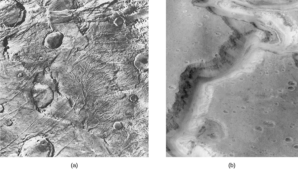Evidence of flowing water on Mars. Panel (a), on the left, shows what resembles an alluvial fan, a feature fairly common at the mouths of rivers on Earth. The main channel begins at the lower left of the image and then branches out into many smaller channels covering most of the left hand side of the image. Panel (b), on the right, shows what appears to be an ancient riverbed snaking its way through the cratered terrain from the lower left to the upper right of the image.