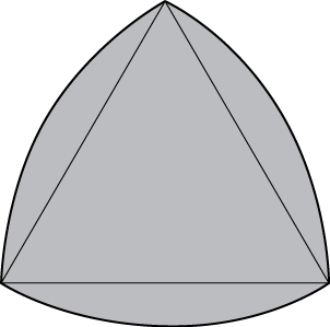 An equilateral triangle with additional regions consisting of three arcs of a circle with radius equal to the length of the side of the triangle. These arcs connect two adjacent vertices, and the radius is taken from the opposite vertex.