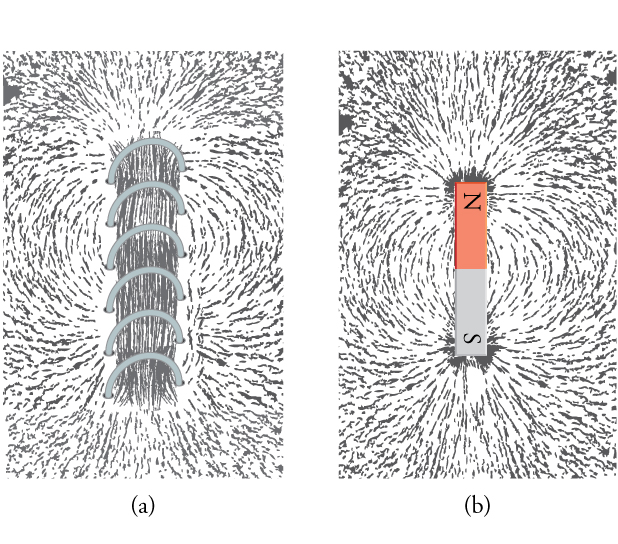 Part (a) shows iron filings around a solenoid; part (b) shows iron filings around a bar magnet.