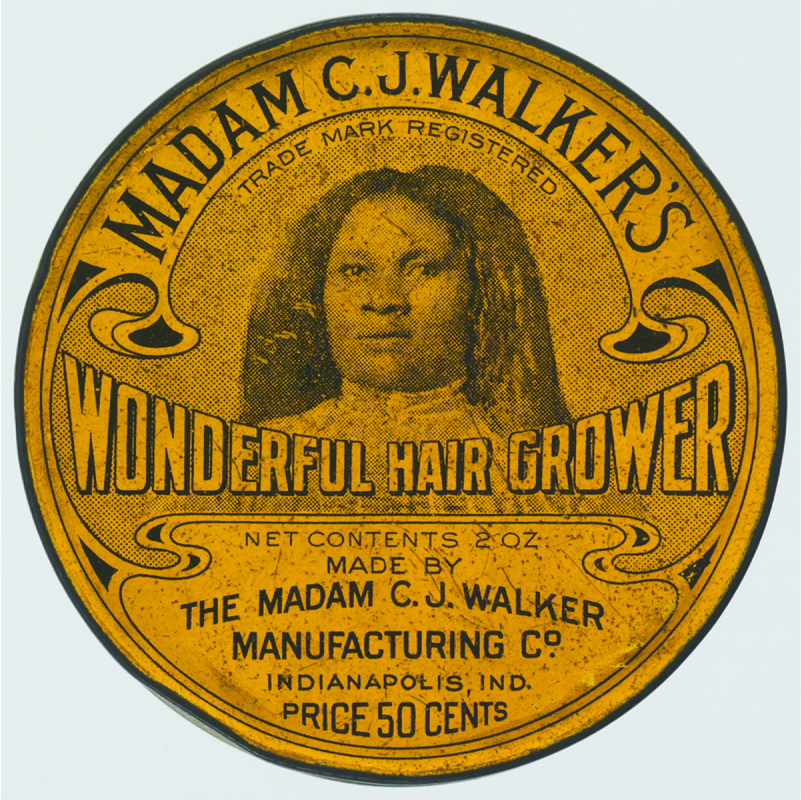 Image of a label for Madam C. J. Walker's Wonderful Hair Grower. The label states: Net contents 2 oz. Made by the Madam C. J. Walker Manufacturing Co. Indianapolis, IND. Price 50 cents.