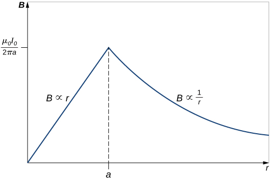 Graph shows the variation of B with r. B linearly increases with r until the point a. Then it starts to decreases proportionally to the inverse of r.