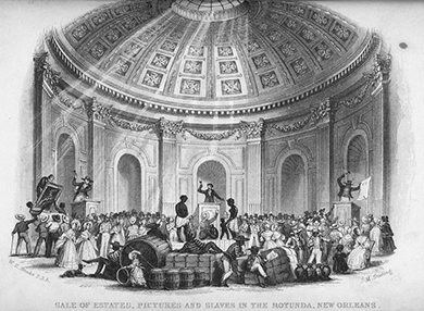 An illustration depicts the auction of captured people and material goods beneath a large, ornate rotunda. On the center auction block, an auctioneer calls for bids on a slave man, woman, and child. On auction blocks to either side, auctioneers sell off large paintings and other goods. Well-dressed people crowd the room and haggle over the items for sale.