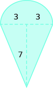 A geometric shape is shown. It is a rectangle attached to a semi-circle. The base of the rectangle is labeled 5, the height is 7.