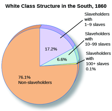"A pie chart entitled ""White Class Structure in the South, 1860"" shows percentages of non-slaveholders (76.1%), slaveholders with 1 to 9 enslaved people (17.2%), slaveholders with 10 to 99 enslaved people (6.6%), and slaveholders with more than 100 enslaved people (0.1%)."