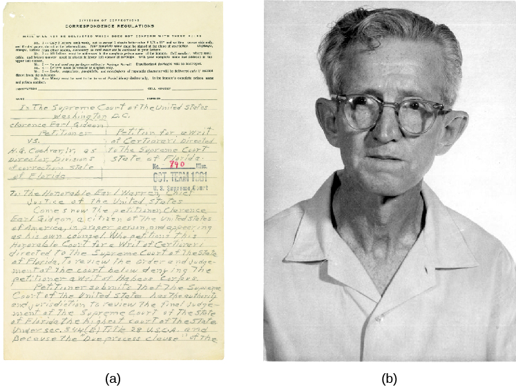 Photo A is of a handwritten petition. Photo B is of Clarence Gideon.