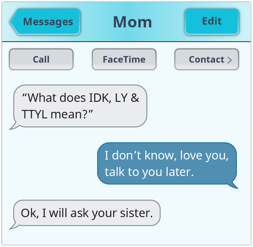 A screenshot shows text messages centered on some common acronyms.