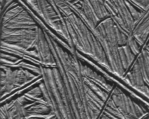 An image of high resolution ridges on Europa.