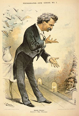 A satirical illustration of Mark Twain addressing an audience is shown.