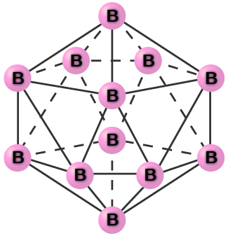 "An image shows a group of atoms, each labeled, ""B,"" connected together with single bonds into a symmetrical, twenty-sided shape."