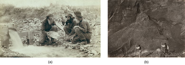 Image (a) is a photograph of three prospectors kneeling beside a stream and panning for gold. Image (b) is a photograph of a two laborers engaged in hydraulic mining, with a massive expanse of rock spread out before them.