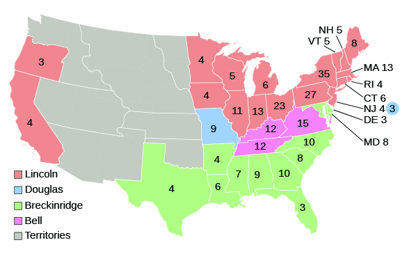 A map shows the disposition of electoral votes for the election of 1860. Each state is labeled to indicate the number of electoral votes cast and shaded to indicate the candidate to whom that state went. Oregon (3), California (4), Minnesota (4), Iowa (4), Wisconsin (5), Illinois (11), Indiana (13), Michigan (6), Ohio (23), Pennsylvania (27), New York (35), Connecticut (6), Rhode Island (4), Massachusetts (13), Vermont (5), New Hampshire (5), and Maine (8) voted for Lincoln. New Jersey, with seven votes total, voted for Lincoln with a majority of 4 votes and Douglas with 3. Texas (4), Louisiana (6), Arkansas (4), Mississippi (7), Alabama (9), Georgia (10), Florida (3), South Carolina (8), and North Carolina (10) voted for Breckinridge. Tennessee (12), Kentucky (12), and Virginia (15) voted for Bell. Missouri (9) voted for Douglas. The territories, which did not participate in the election, are labeled as well.