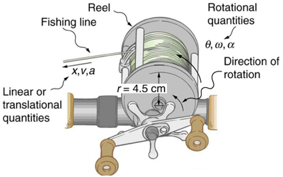 The figure shows a fishing reel, with radius equal to 4.5 centimeters. The direction of rotation of the reel is counterclockwise. The rotational quantities are theta, omega and alpha, and x, v, a are linear or translational quantities. The reel, fishing line, and the direction of motion have been separately indicated by curved arrows pointing toward those parts.