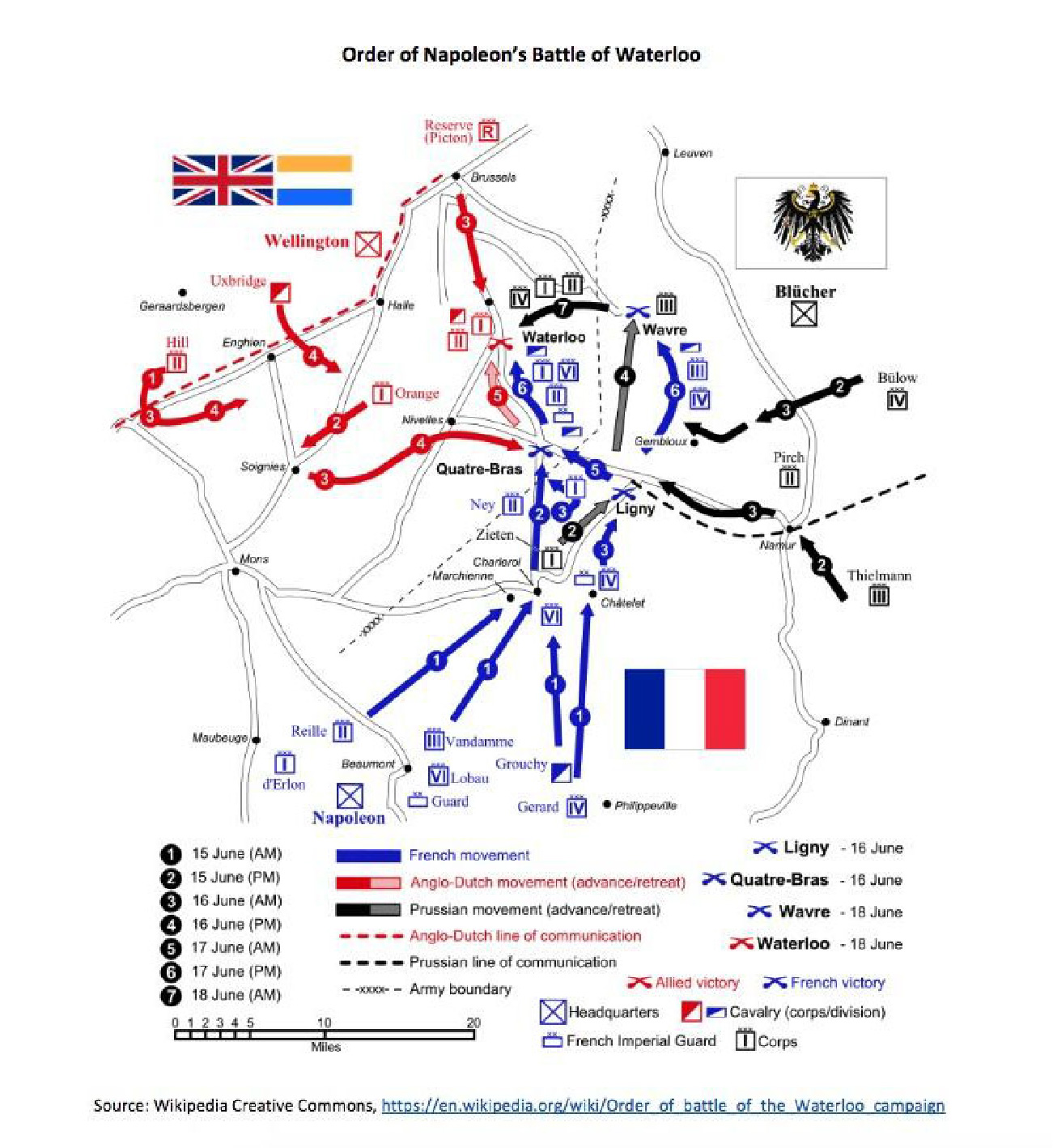 """A map shows the """"Order of Napoleon's Battle of Waterloo."""""""