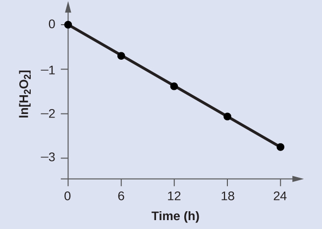 "A graph is shown with the label ""Time ( h )"" on the x-axis and ""l n [ H subscript 2 O subscript 2 ]"" on the y-axis. The x-axis shows markings at 6, 12, 18, and 24 hours. The vertical axis shows markings at negative 3, negative 2, negative 1, and 0. A decreasing linear trend line is drawn through five points represented at the coordinates (0, 0), (6, negative 0.693), (12, negative 1.386), (18, negative 2.079), and (24, negative 2.772)."