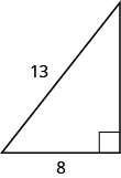 A right triangle is shown. The right angle is marked with a box. The side across from the right angle is labeled as 13. One of the sides touching the right angle is labeled as 8.