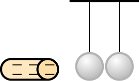 A rod is represented by a long oval with a circle on the end. The brown rod has 6 minus signs. Two hanging spheres are shown to the right of the rod.