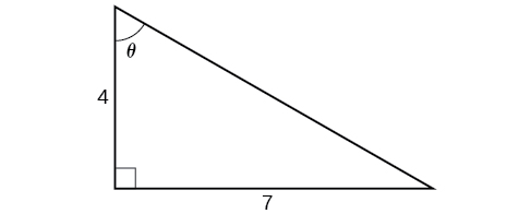 An illustration of a right triangle with angle theta. Adjacent the angle theta is a side with length 4. Opposite the angle theta is a side with length 7.