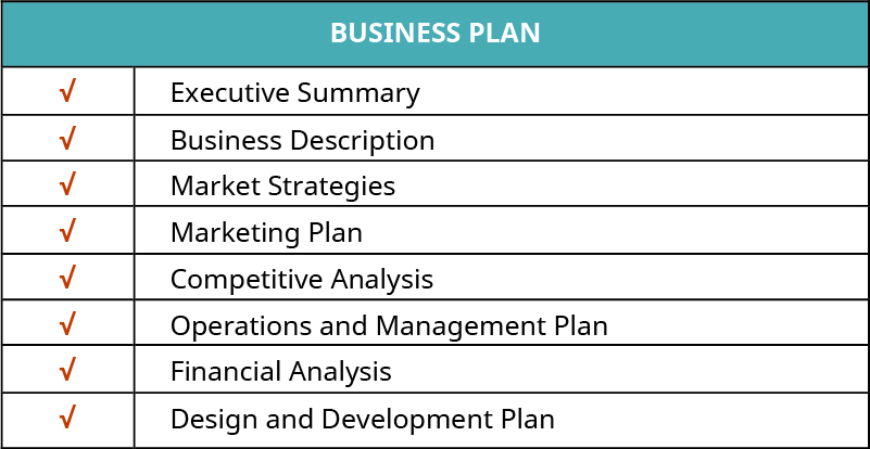 Business plan that includes an executive summary, business description, market strategies, marketing plan, competitive analysis, operations and management plan, financial analysis, and design and development plan.
