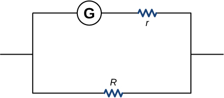 The figure shows a circuit with two parallel branches, one with galvanometer connected to resistors r and other with resistor R.